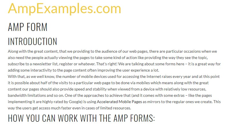 Let's examine AMP project and AMP-form  feature?