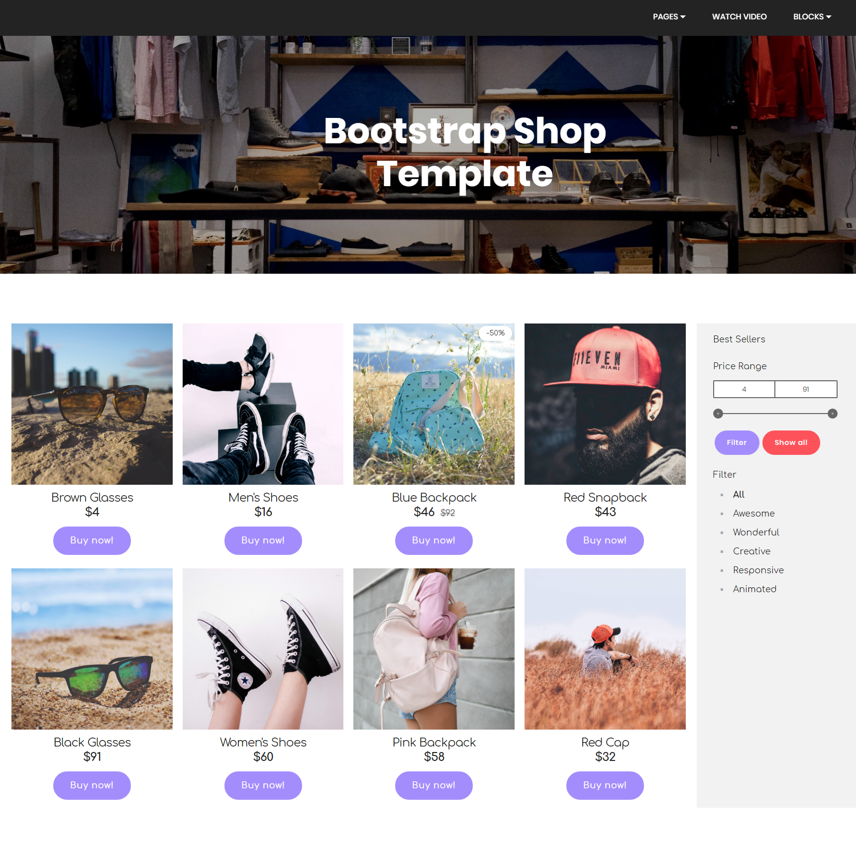 HTML5 Bootstrap Shop Templates