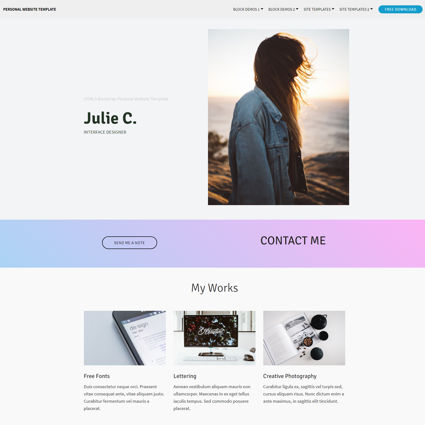CSS3 Bootstrap Personal website Themes